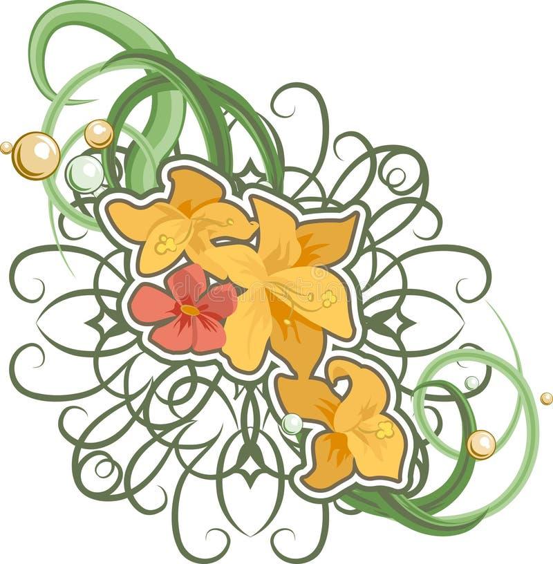Blumenauslegungelement. stock abbildung