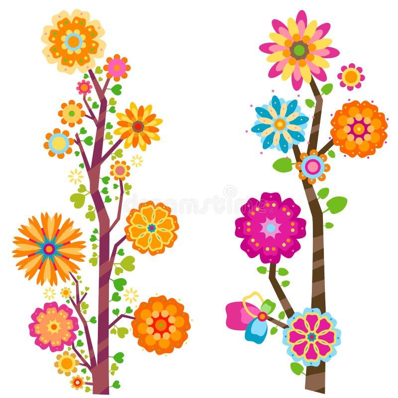 Blumenbäume stock abbildung