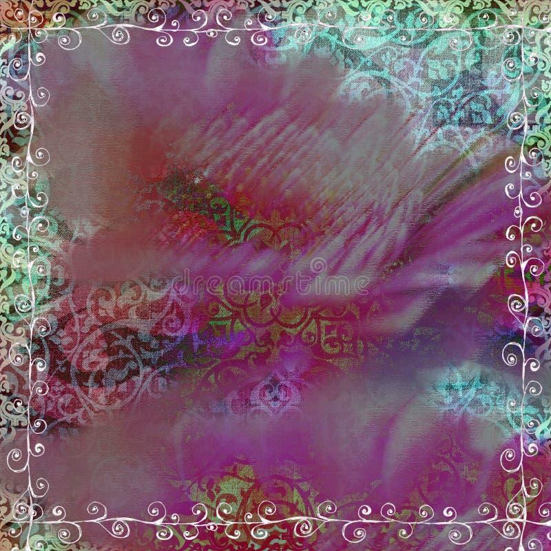 Blumenböhmischer Tapisserie-Einklebebuch-Zigeunerhintergrund lizenzfreie abbildung