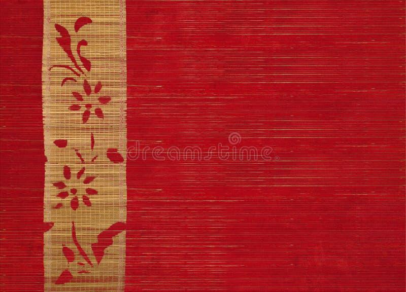 Blumenbambusfahne auf rotem Holz stockfoto