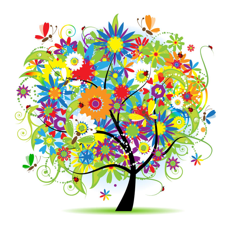 Blumenbaum schön lizenzfreie abbildung