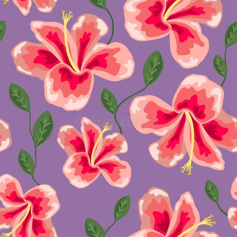 Blumenbeschaffenheit mit stilvollem nahtlosem Hibiscusmuster lizenzfreie abbildung