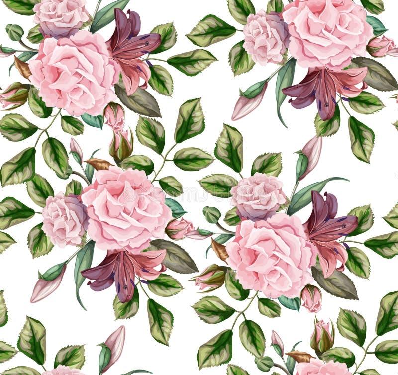 Blumenblüten-Blattes des Vektors nahtloses Muster des rosafarbenen stock abbildung