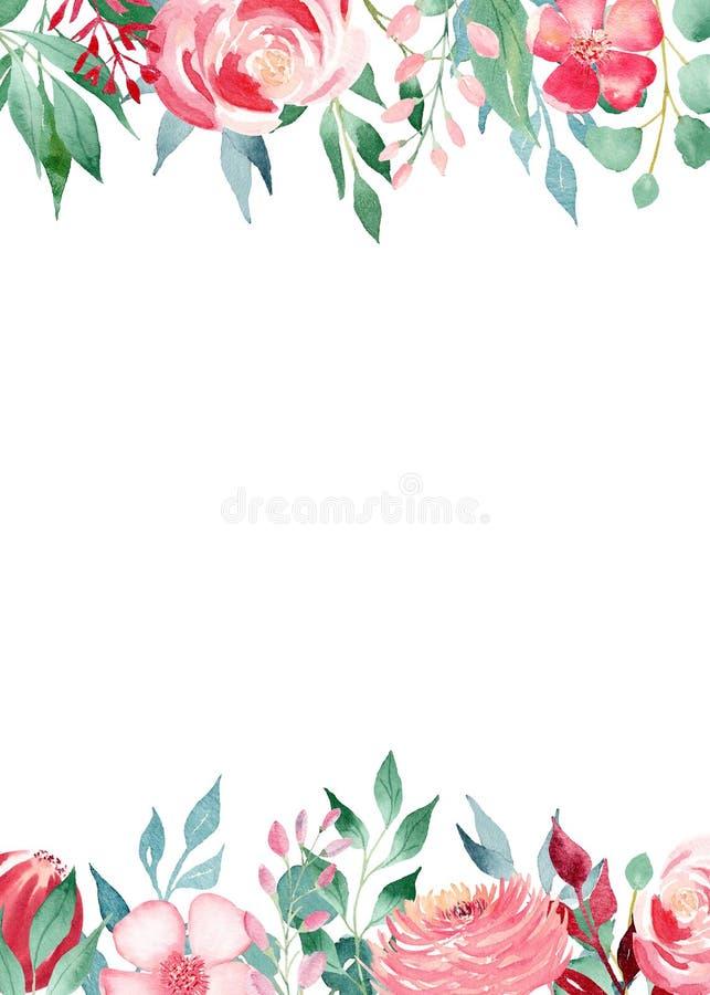 Blumenblütenaquarellhandgezogene Raster-Rahmenschablone stock abbildung