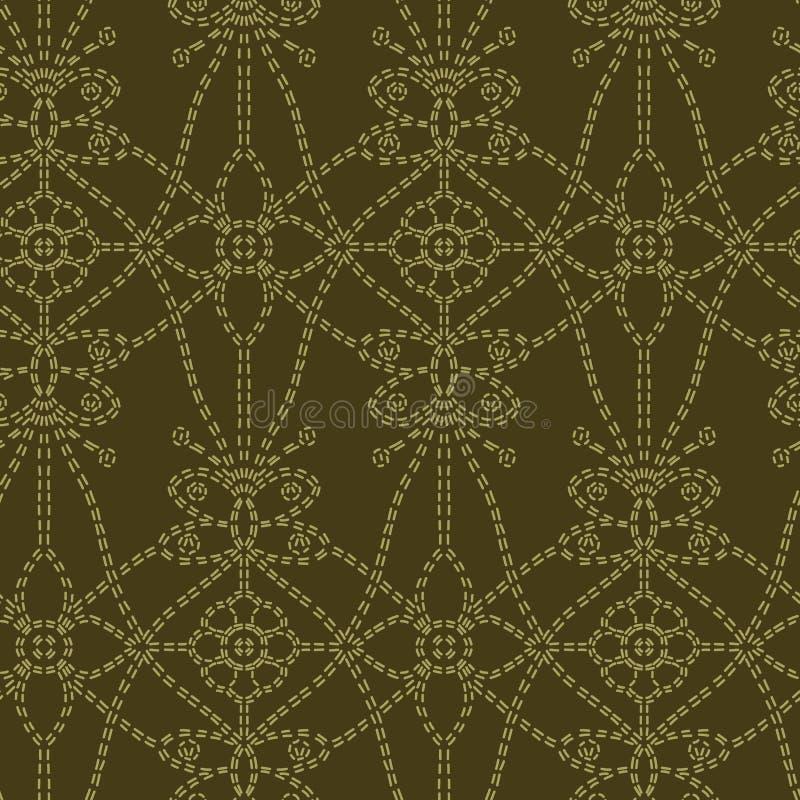 Blumenblatt-Motivvorstichart Nahtloses Vektormuster der viktorianischen Näharbeit Brokat-Textildruck des Handstiches dekorativer vektor abbildung
