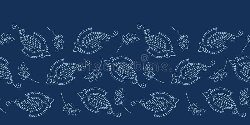 Blumenblatt-Paisley-Motiv sashiko Art Vektormuster der japanischen Näharbeit nahtloses Grenz Handstich-Indigoblau boteh Foulard lizenzfreie abbildung