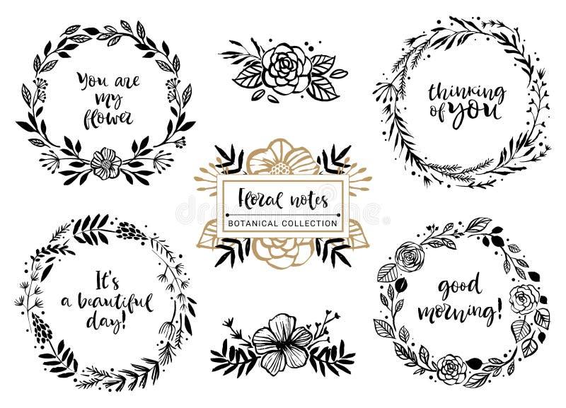 Blumenblumensträuße, Kränze mit inspirierend Zitaten Mit Blumenbotan lizenzfreie abbildung