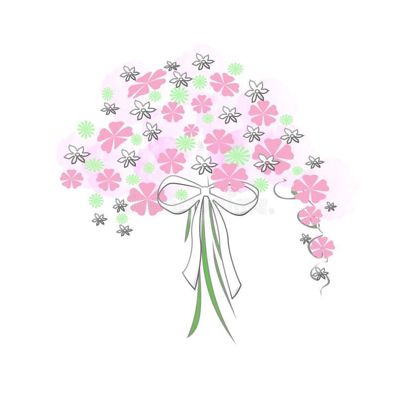 Blumenblumenstrauß mit Bogen stock abbildung