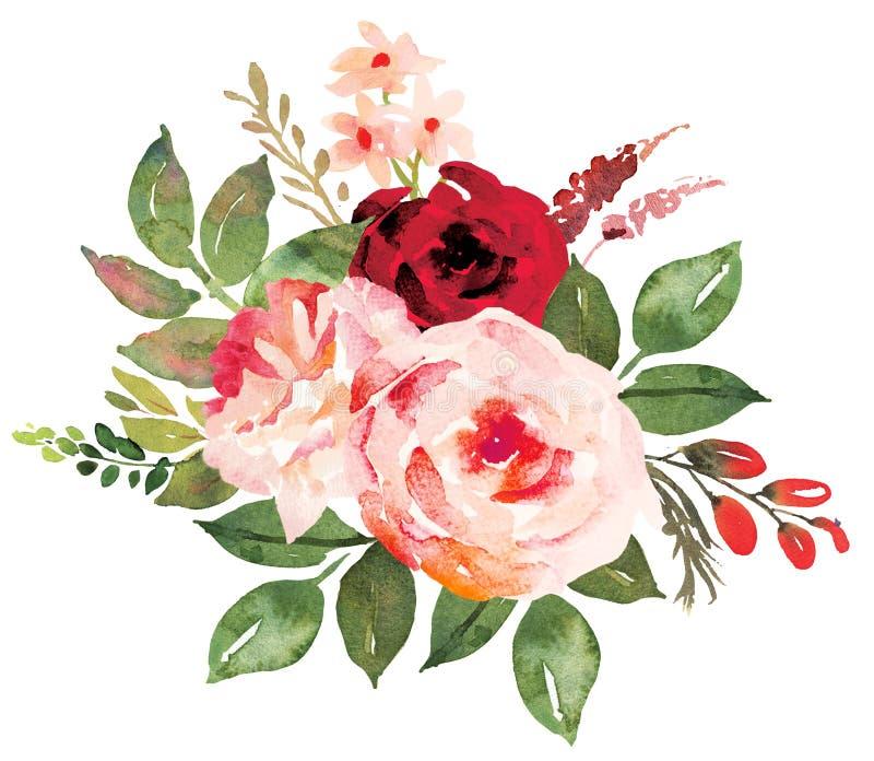 Blumenblumenstrauß mit dem Rot rosa Rosen stock abbildung