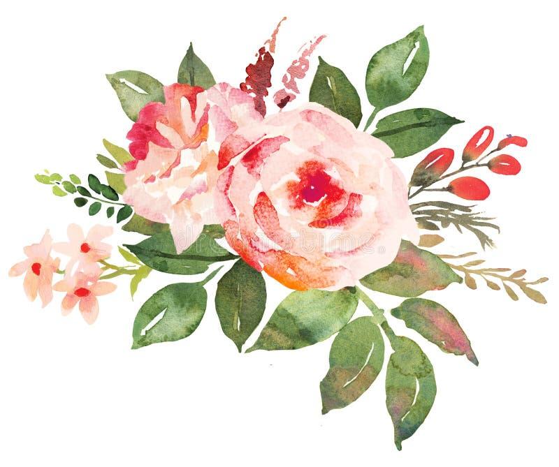 Blumenblumenstrauß mit dem Rot rosa Rosen lizenzfreie abbildung