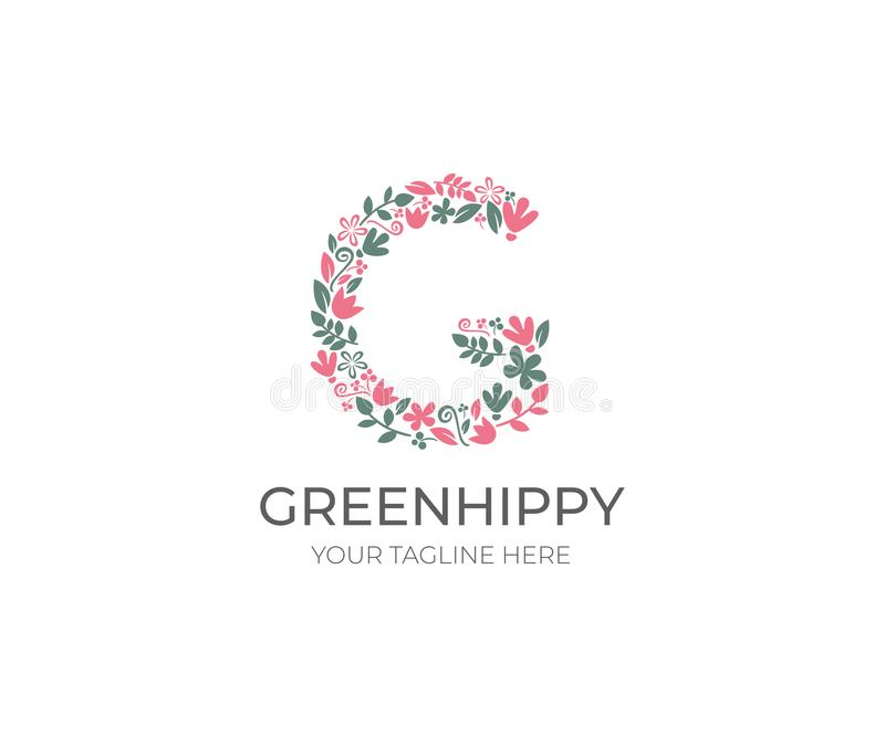Blumenbuchstabe G Logo Template Natur-Vektor-Design stock abbildung