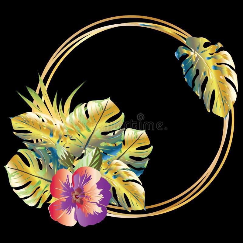 Blumendekor mit tropischen Blättern, Blumen und goldenem rundem Rahmen vektor abbildung