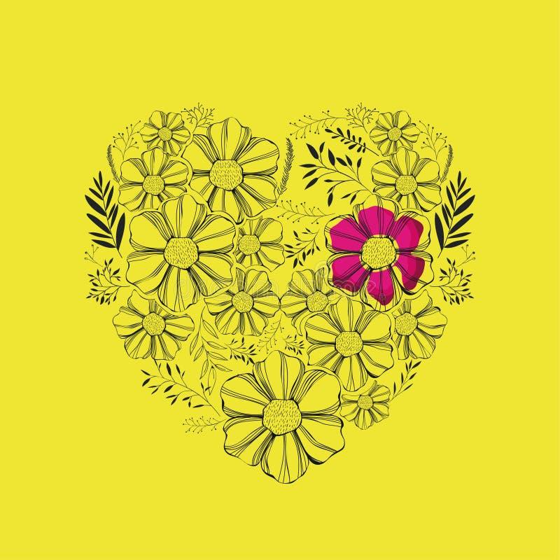 Blumendekoration mit Herzform lizenzfreie abbildung