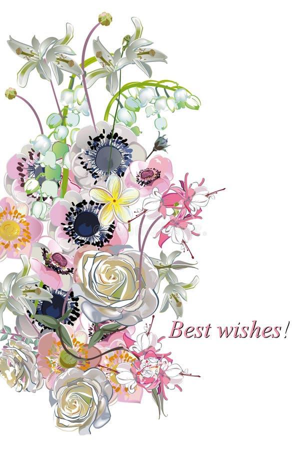 Blumendekorationen mit Pfingstrosen, Rosen und Dahlien lizenzfreie abbildung