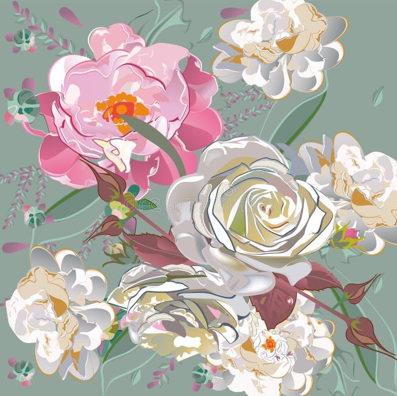 Blumendekorationen mit Pfingstrosen, Rosen und Dahlien vektor abbildung