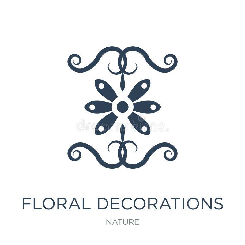 Blumendekorationsikone in der modischen Entwurfsart Blumendekorationsikone lokalisiert auf weißem Hintergrund Blumendekorationsve stock abbildung