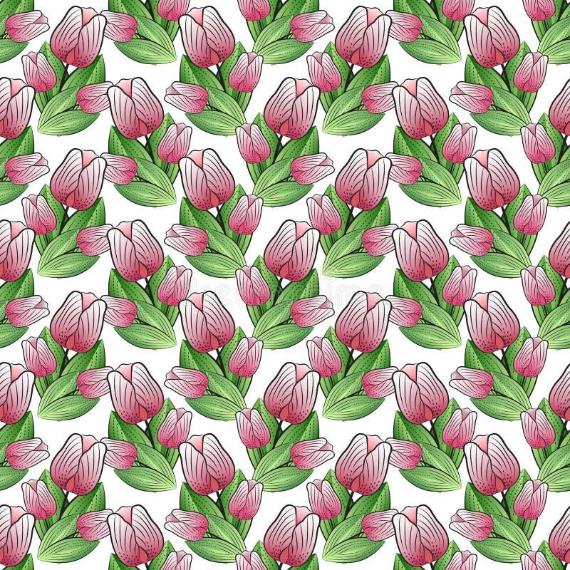 Blumendruck, ein nahtloses Muster von Blumensträußen von hochrot-rosa Tulpen mit grünen Blättern, weißer Hintergrund, Vektor lizenzfreie abbildung