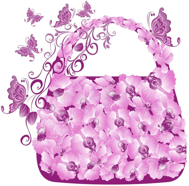 BlumenEinkaufstasche. Vektorabbildung   stock abbildung