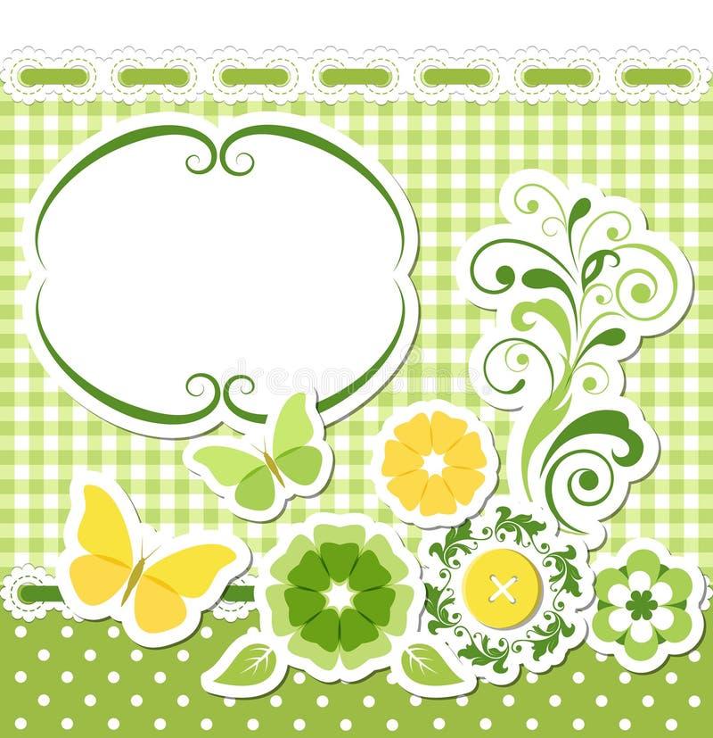 Blumeneinklebebuchgrünsatz lizenzfreie abbildung
