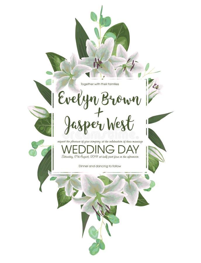 Blumeneinladung heiratend, laden Sie Karte ein Vektoraquarellart lizenzfreie abbildung