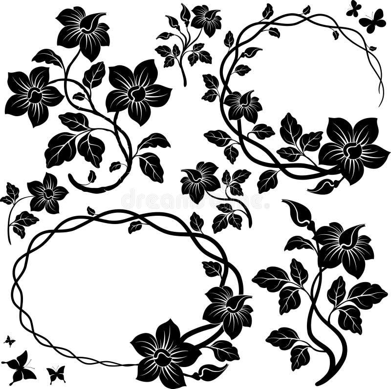 Blumenelemente für Auslegung. stock abbildung