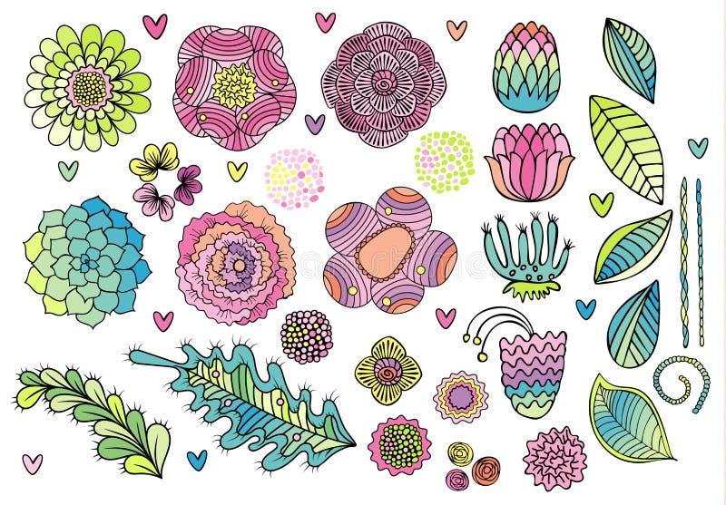 Blumenelementsatz-Vektorillustration lizenzfreie abbildung