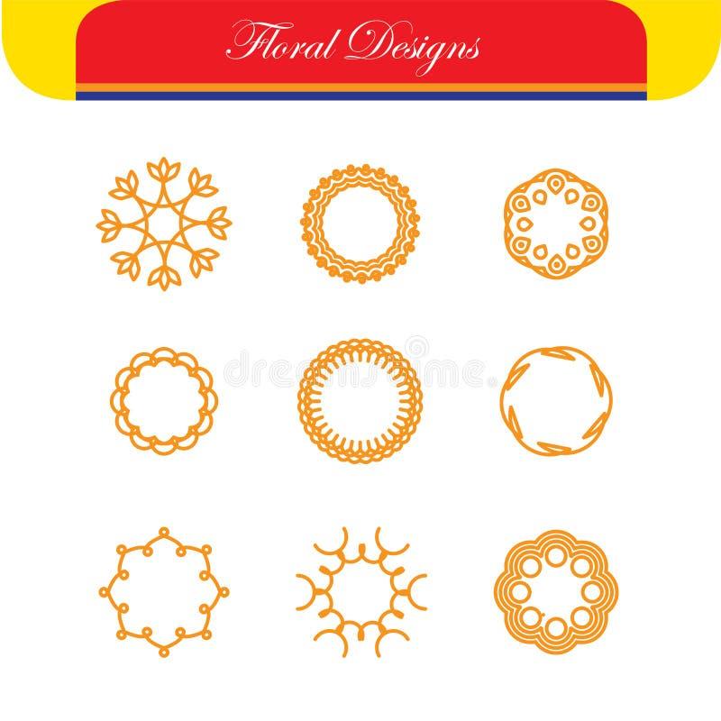 Blumenentwürfe u. Linie wird Vektordesigne - abstrakten Hippie deutlich stock abbildung