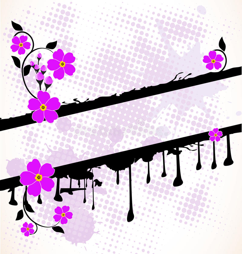 Blumenfahne mit splats vektor abbildung