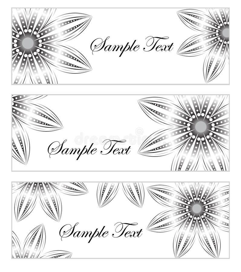 Blumenfahnensatz, im Stil der Handzeichnung Abstrakte Blumen des Vektors Auch im corel abgehobenen Betrag lizenzfreie abbildung