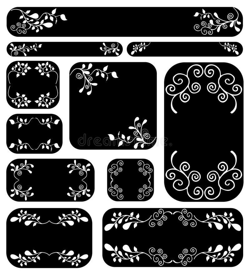 Blumenfahnenset stock abbildung