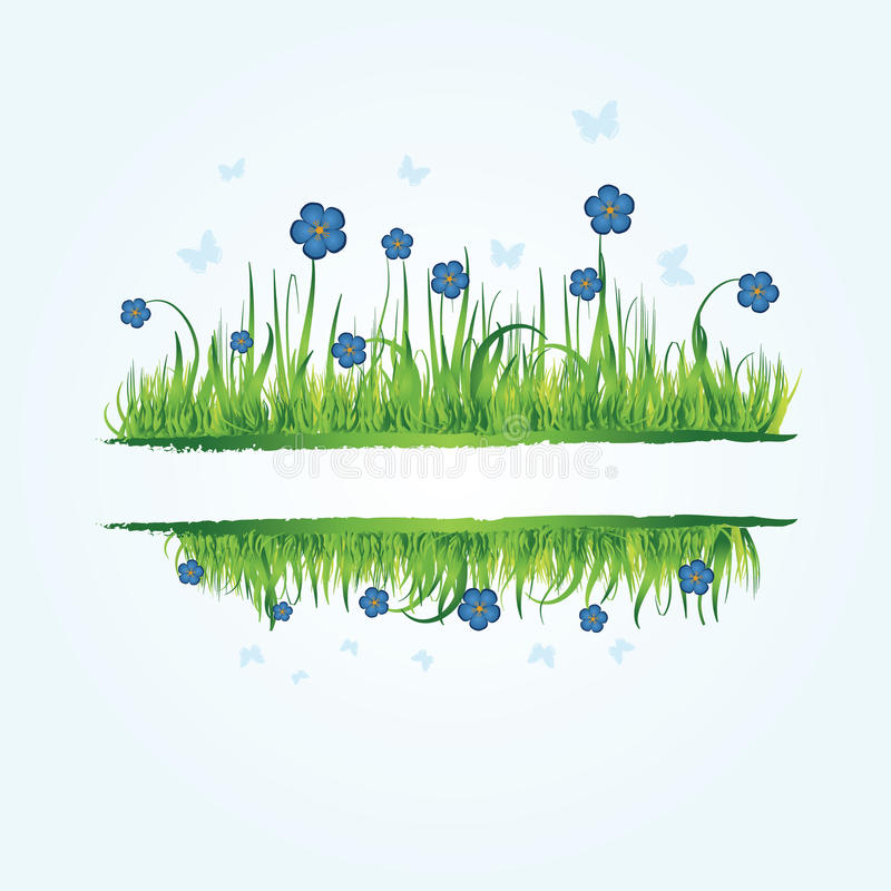 Blumenfeld mit Gras vektor abbildung