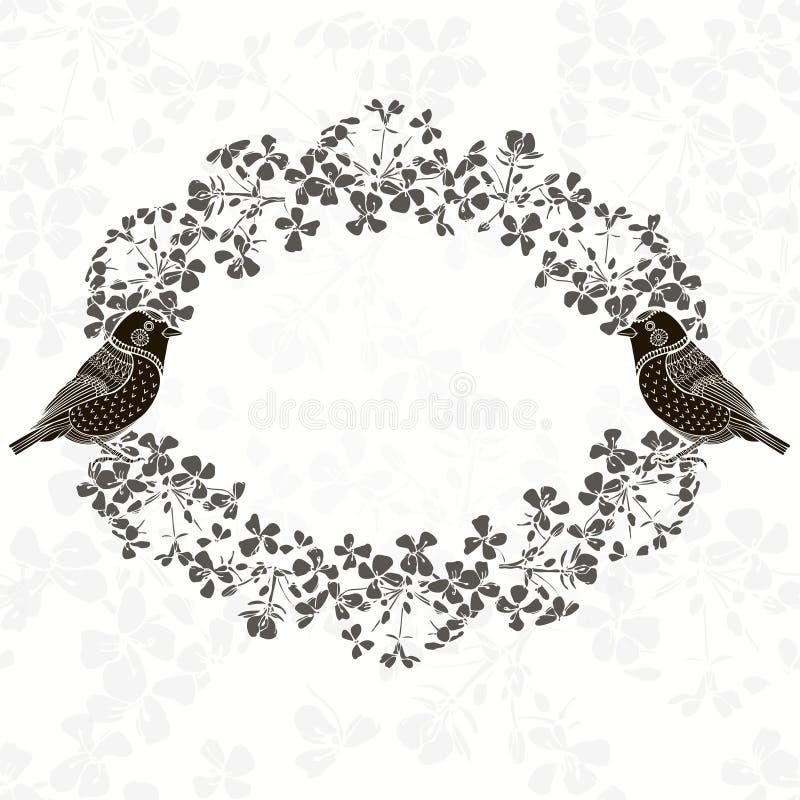 Blumenfeld mit Vögeln Illustration mit Platz für Text, kann lizenzfreie abbildung