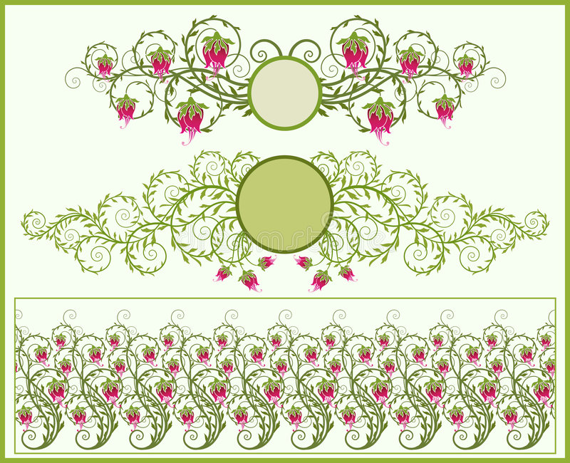 Blumenfelder und Rand stock abbildung