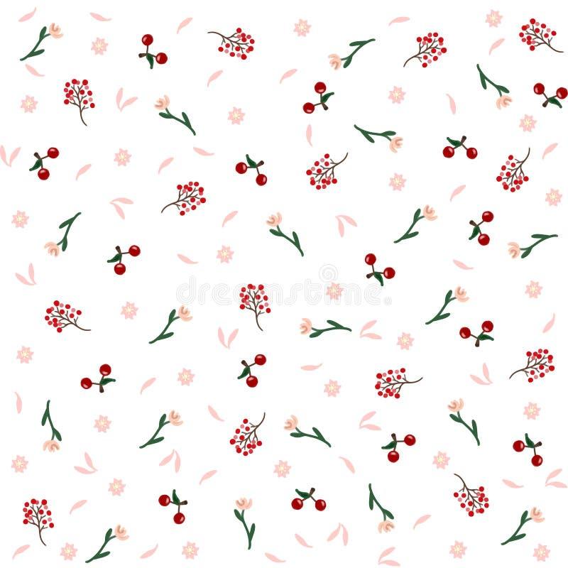 Blumenfrühlings-Muster mit Früchten und den Blumen-Blumenblättern stockbild