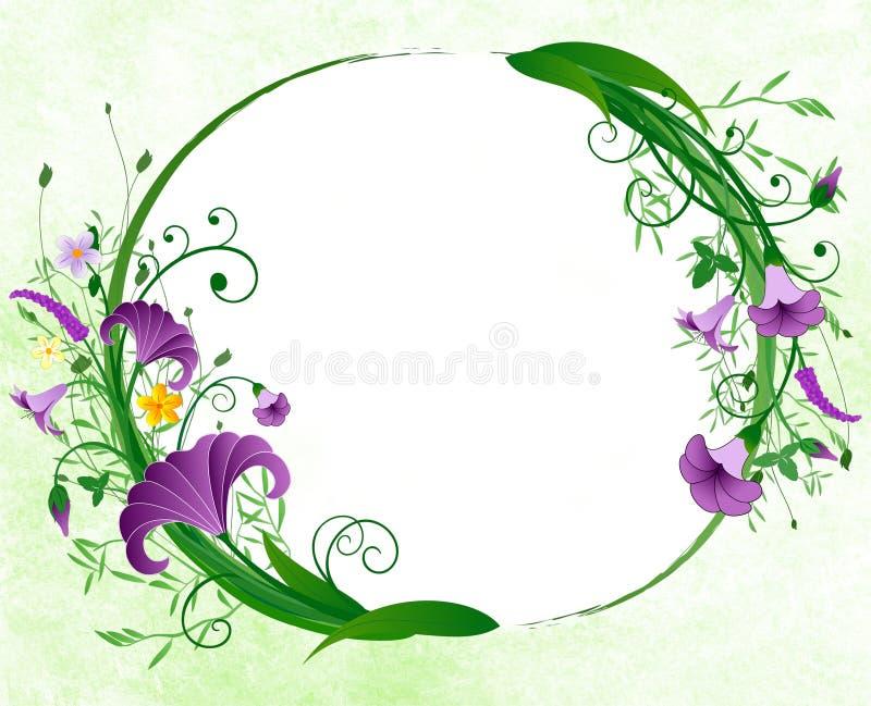 Blumenfrühlingsovalrand stock abbildung