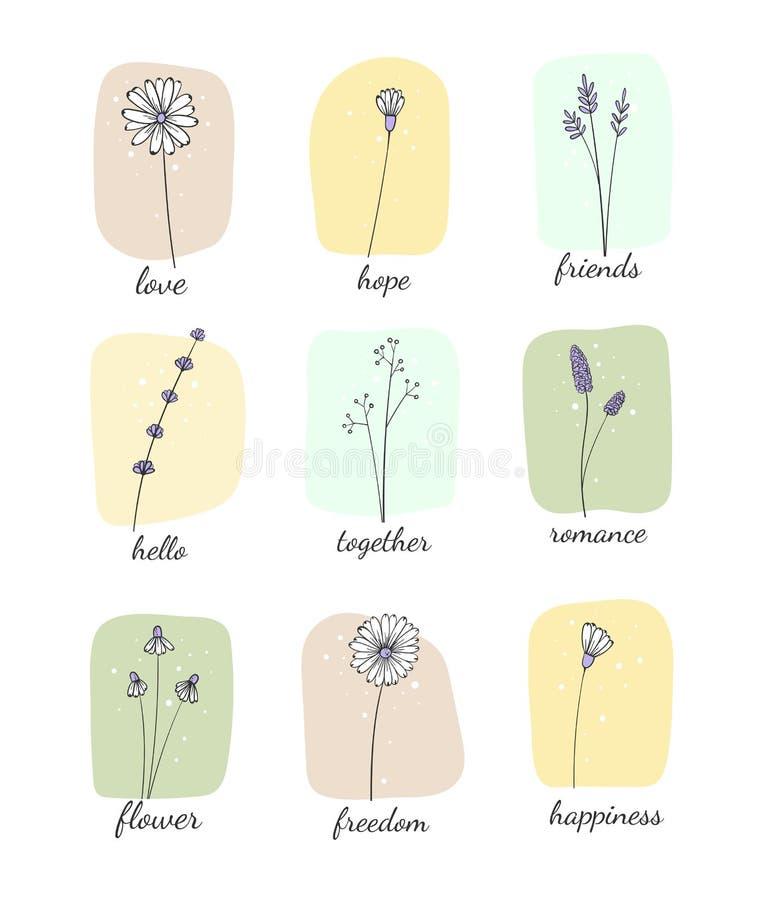 Blumengestelle Botanik Einzeldoodle-Blume vektor abbildung
