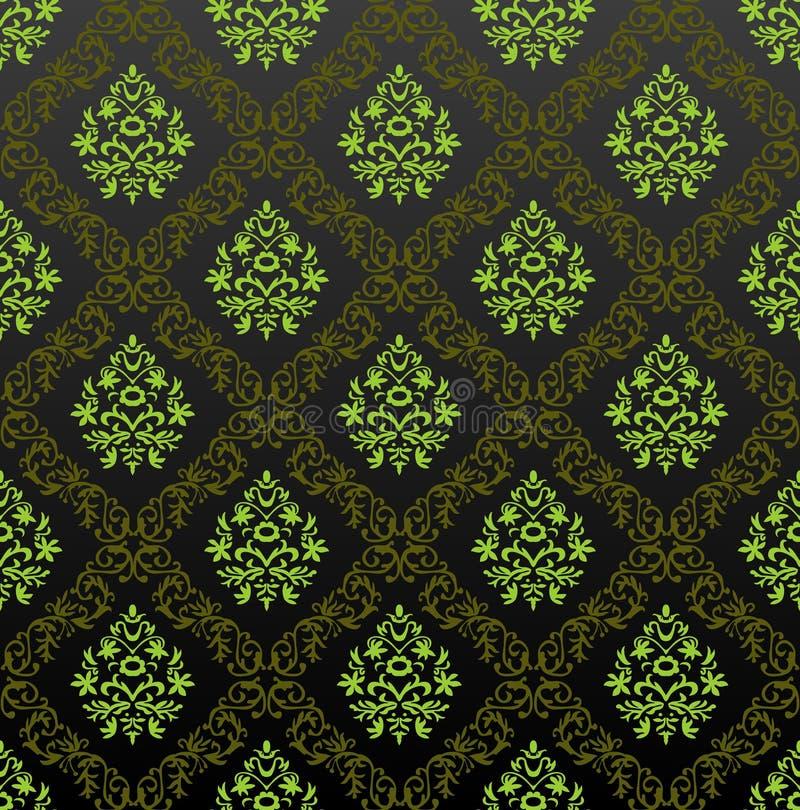 Blumengrün der nahtlosen Tapete lizenzfreie abbildung