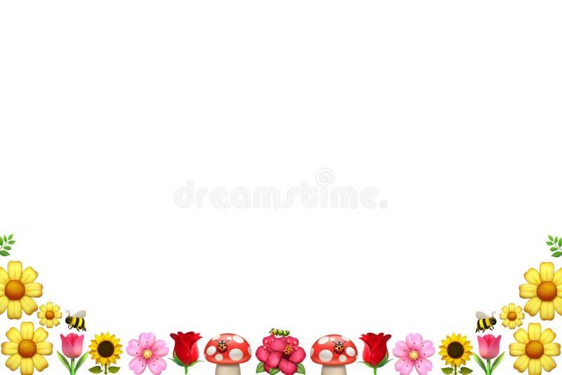 Blumengrafische Ressource der frühlingsgartenblumen und -insekten stockbilder