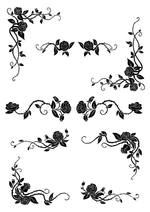 Blumengrenzen mit blühenden rosafarbenen Blumen vektor abbildung