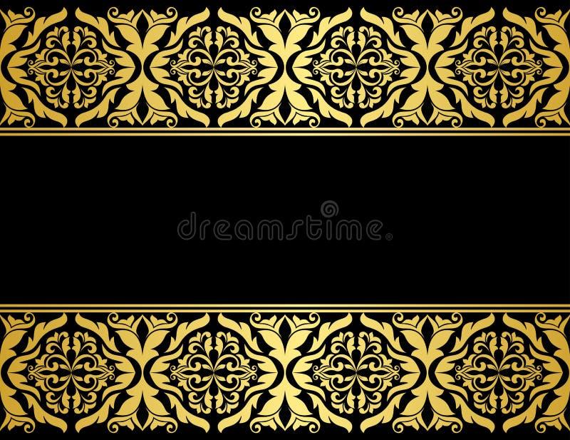 Blumengrenzen mit vergoldet lizenzfreie abbildung