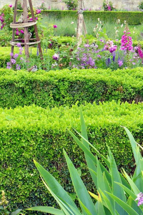 Blumengrenzfranzösische Art, Tuileries-Garten stockfotos