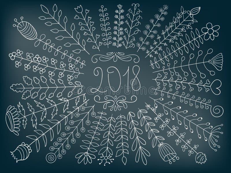 Blumengruß des Vektor-2018 stock abbildung