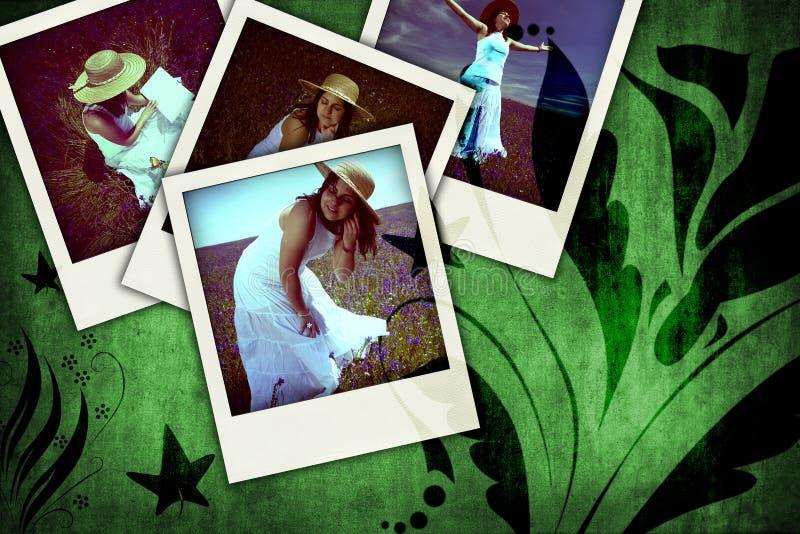 Blumengrunge Hintergrund mit alten sofortigen Fotos lizenzfreie stockbilder