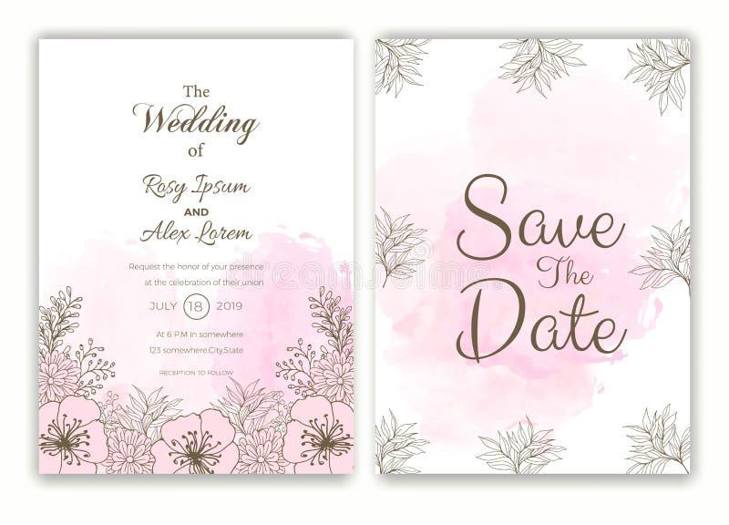Blumenhand gezeichneter Rahmen für eine Hochzeitseinladung stock abbildung