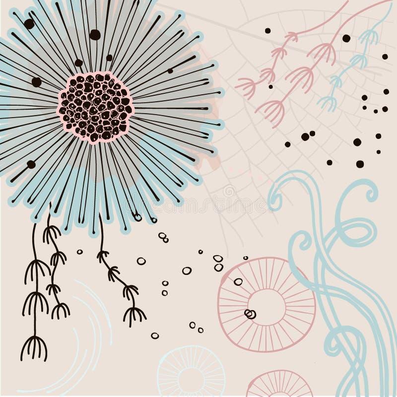 Blumenhand gezeichnetes orange, grünes, blaues Pastellblatt auf Zweig auf hellem Hintergrund Magischer Blumenhintergrund Vcetor vektor abbildung