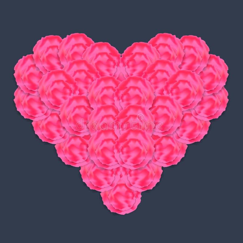 Blumenherz gemacht von den abstrakten Rosen mit Schatten lizenzfreie abbildung
