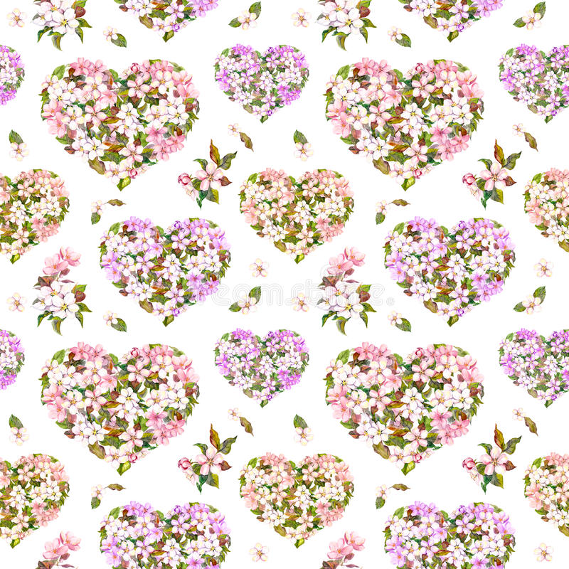 Blumenherzen, Apfel und Kirschblüte-Blumen - Kirschblüte nahtloses Muster für Valentinstag Weinleseaquarell lizenzfreie stockfotos