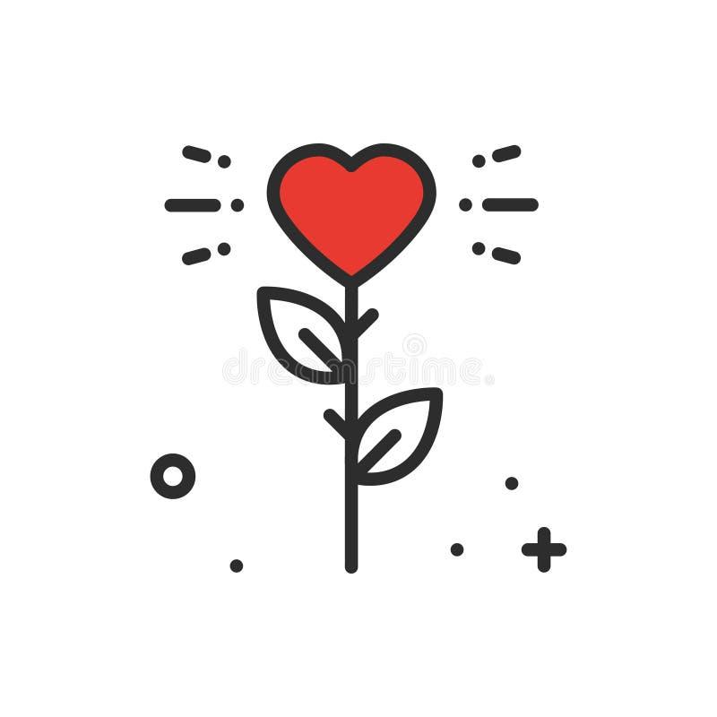 Blumenherzlinie Ikone Liebeszeichen und -symbol Tätowierungsthema der blume des Liebesgartens Gartenarbeitromantisches stock abbildung