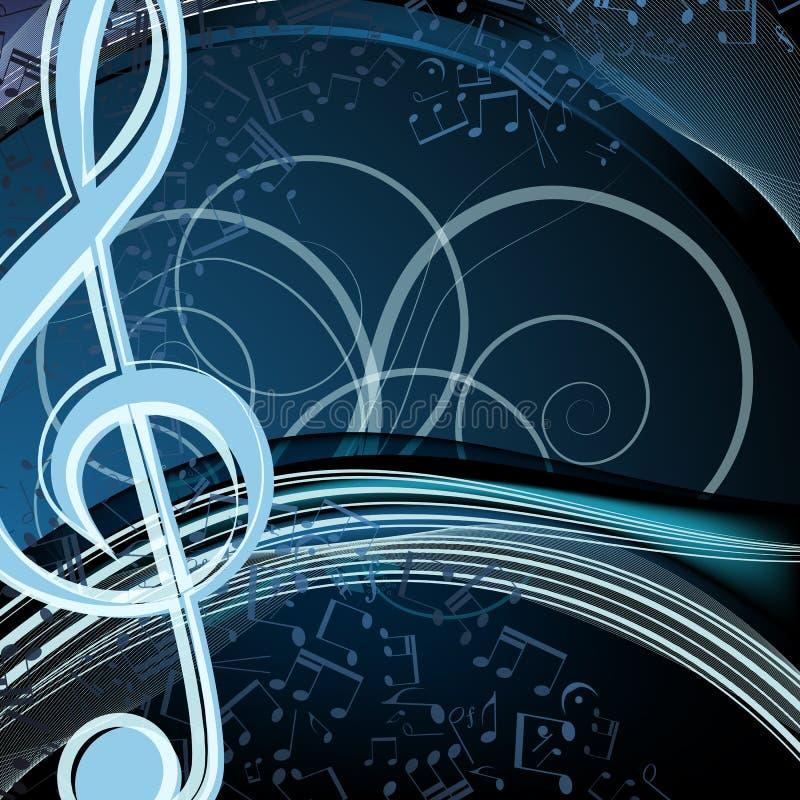 Blumenhintergrund der blauen Musik: Melodie, Anmerkungen, Schlüssel, swirly lizenzfreie abbildung