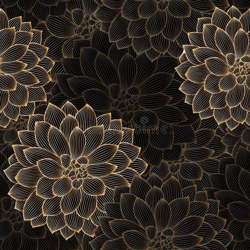Blumenhintergrund der goldenen nahtlosen Handzeichnung mit Blumendahlie stockfotografie